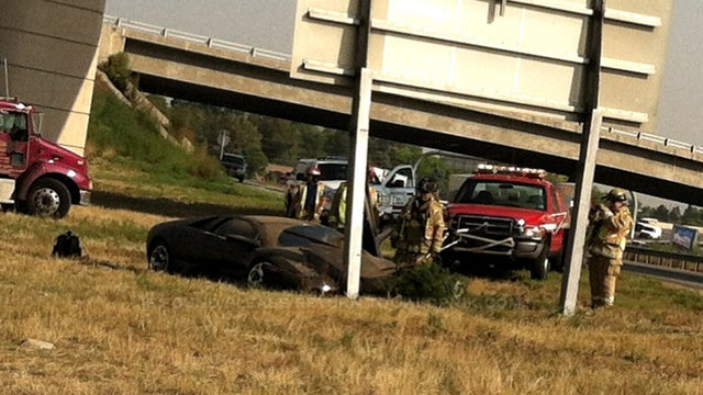 Lamborghini Plows Into Highway Sign In Colorado