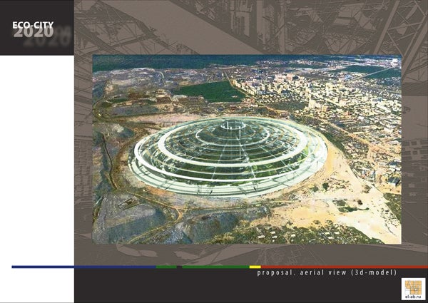 Plans for a domed city in a kilometer-wide Siberian diamond mine