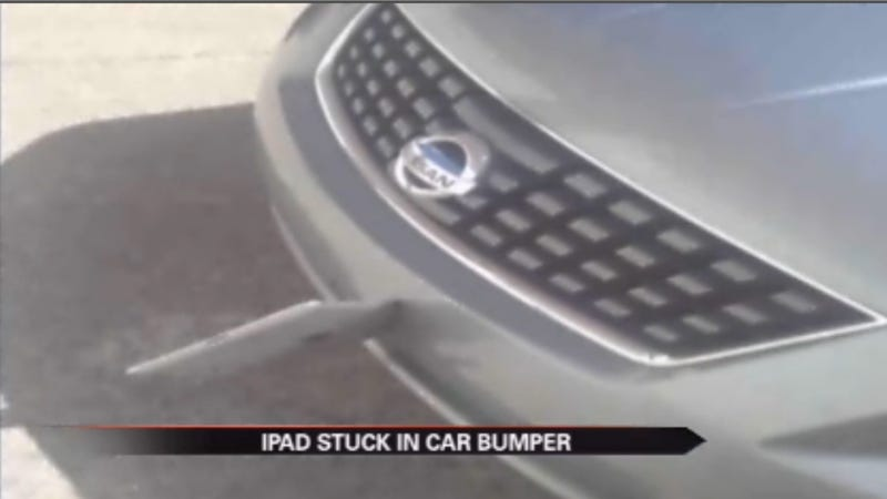 This Flying iPad Got Wedged In A Car Bumper