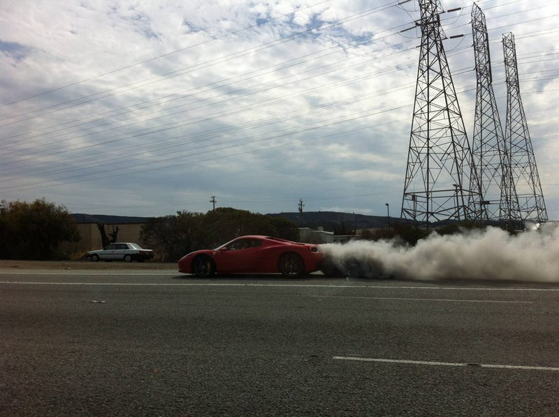 Asshat Swerving In A Ferrari 458 Blows Engine