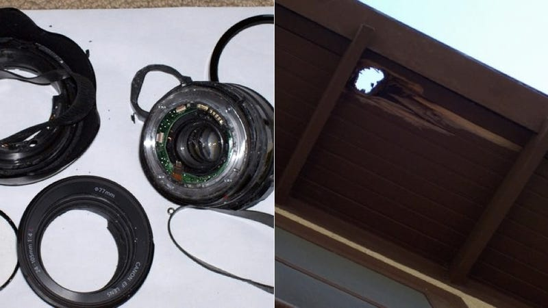 A Camera Lens Fell Out of the Sky and Crashed Through This Woman's Roof