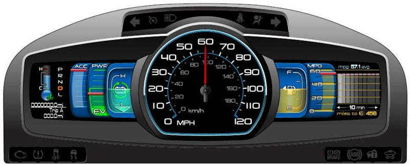 Ford SmartGauge LCD Instrument Panel Brings Futuristic Look, Green Leaves To 2010 Hybrids