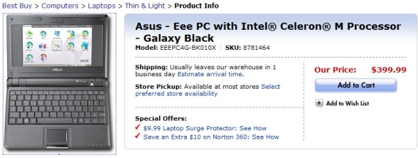 Windows XP Asus Eee PC Now Available from Best Buy, Still $399