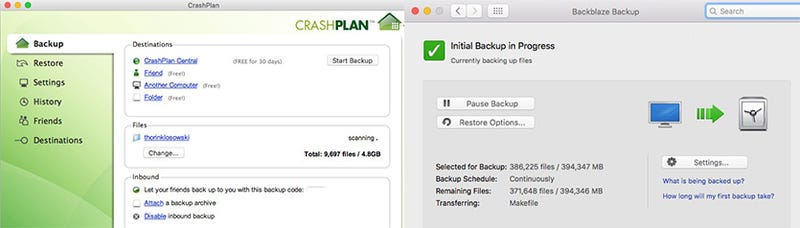Online Backup Faceoff: CrashPlan vs. Backblaze
