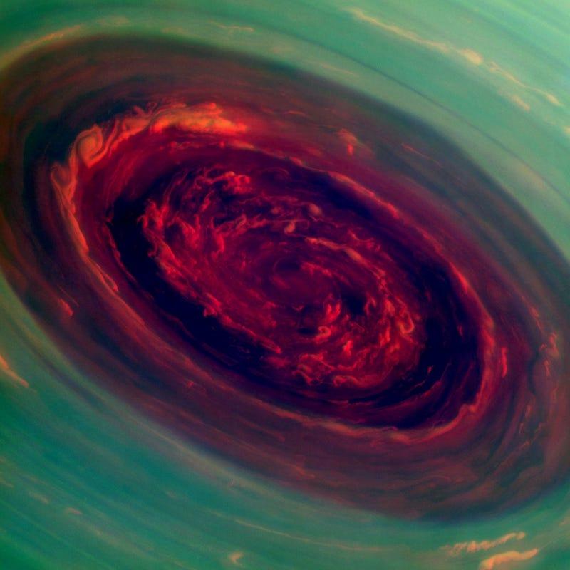 Saturn's Harrowing Hurricane Is Even More Terrifying in Technicolor