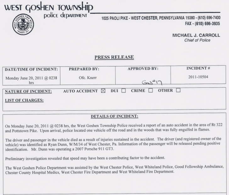 Here's The Police Report For The Fiery Crash That Killed Jackass Star Ryan Dunn