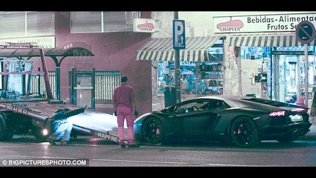 While Messi Was Scoring Five Goals, Cristiano Ronaldo's $300,000 Lamborghini Was Getting Towed