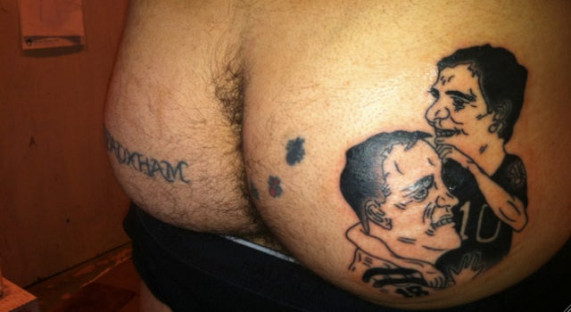 Some Guy From Queens Apparently Got Eli And Peyton Manning Tattooed On His Hairy Ass