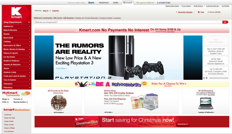 "Kmart.com: ""New Low Price, New Exciting PlayStation 3"" [Update]"