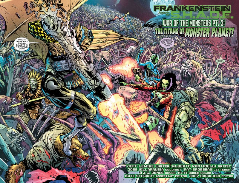 In this preview of DC's Frankenstein, a vampire with a machine gun needs no introduction