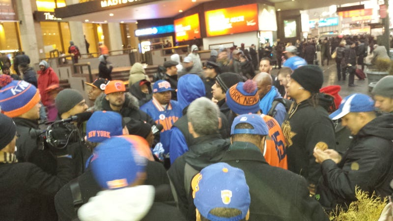 About 40 Fed-Up Knicks Fans Showed Up For Tonight's Protest