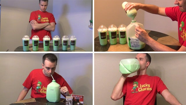 St. Patrick's Day Hero Attempts To Drink a Gallon Of Shamrock Shake