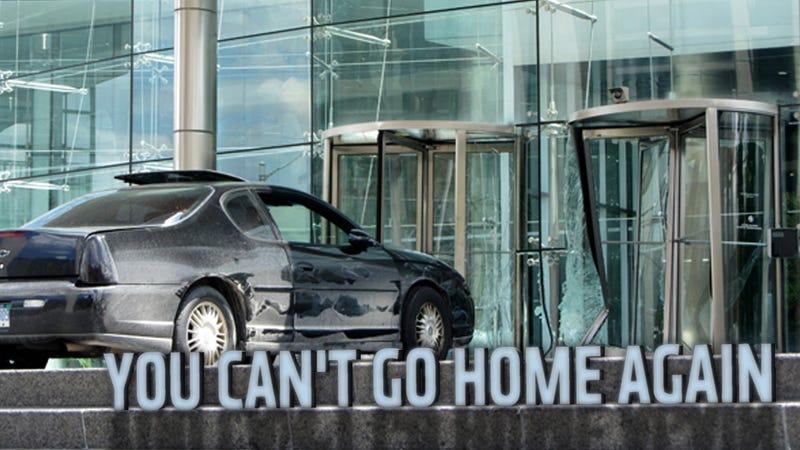 Crazy Man Crashes Chevy Into GM Headquarters