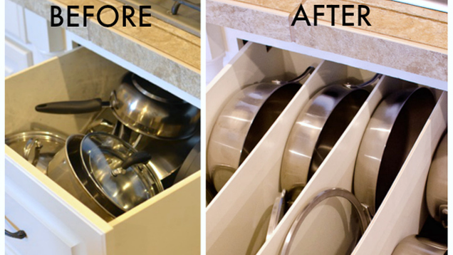 Organize pots and pans with diy drawer panels - How to organize kitchen drawers and cabinets ...
