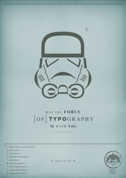 Star Wars characters rendered with the Force of typography