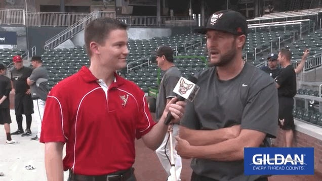 Minor League Baseball Interview Videobombed By Running Knockout Punch