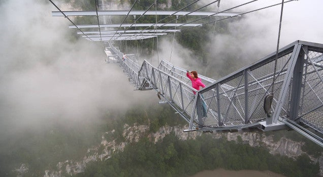 World's longest pedestrian suspension bridge opens—and you can jump off it