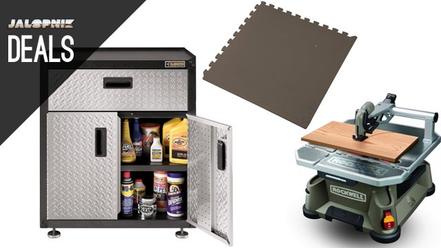 Compact Table Saw, Metal Tool Cabinet, Cheap Anti-Fatigue Tiles