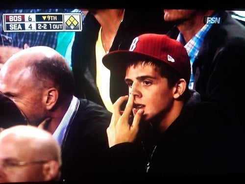 Red Sox Fan Picking His Nose? Red Sox Fan Picking His Nose.