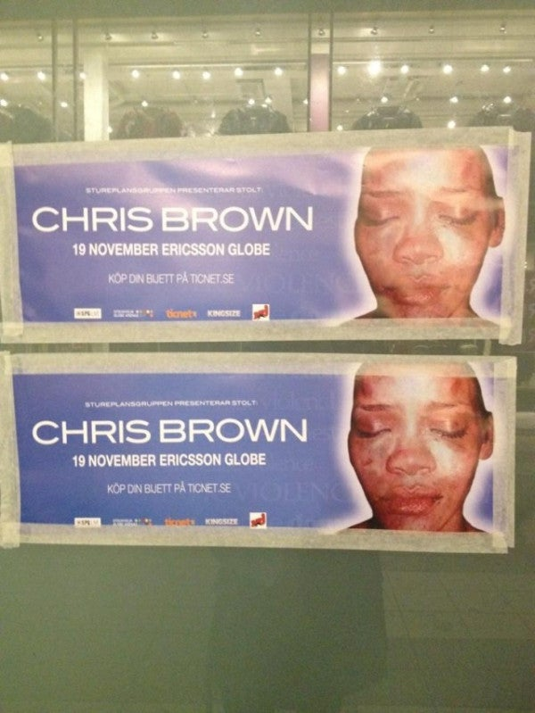 Infamous Photo of a Battered Rihanna Used to Promote Chris Brown's Concert in Stockholm