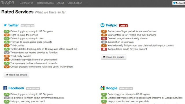 ToS;DR Is a One-Stop Shop for Webapp Terms of Service Ratings