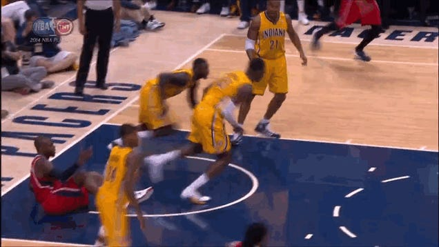 Lance Stephenson Hops His Way Down The Court