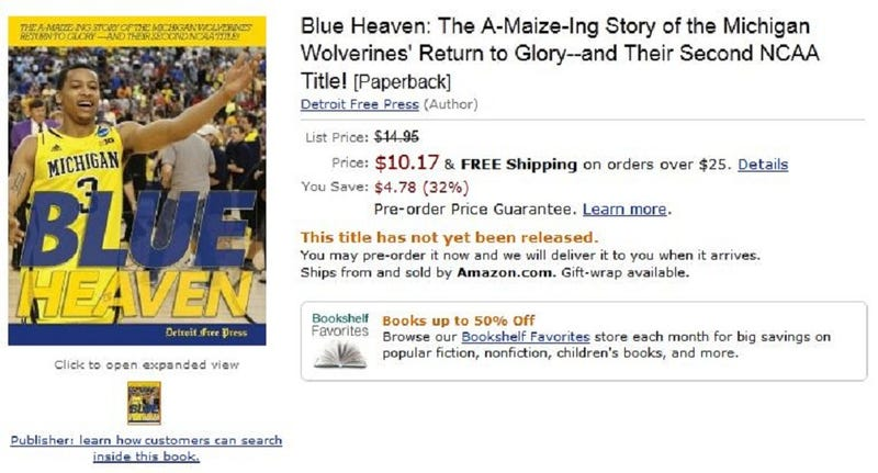 Amazon And Detroit Free Press Selling Book On Michigan's NCAA Victory