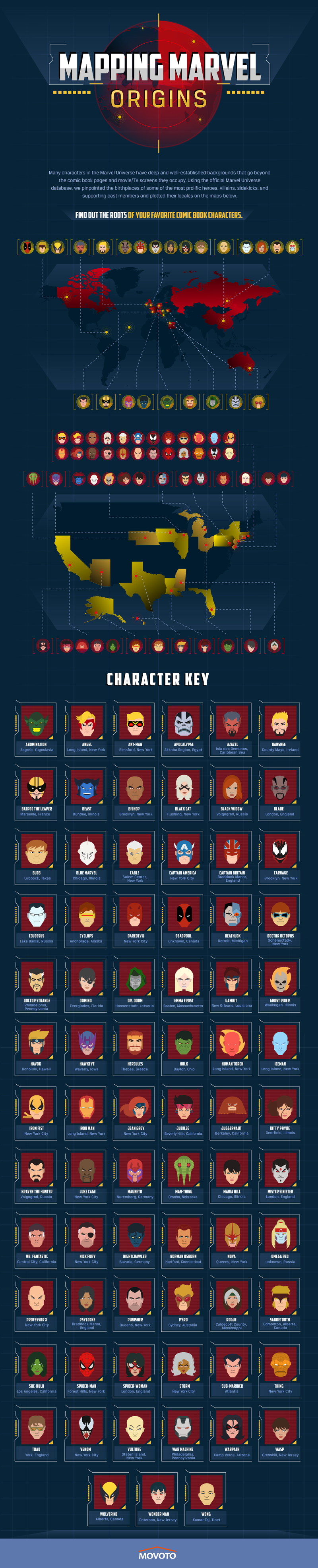 This map shows where the most famous Marvel characters are from