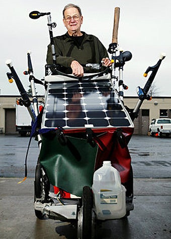 74-Year-Old Man Trekking Across America With Solar-Powered Stroller