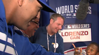 Salvador Perez Torments Lorenzo Cain During Media Session