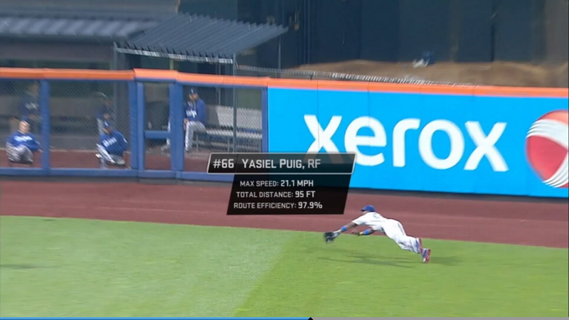 Watch How MLB's Crazy Tracking System Saw Yasiel Puig's Diving Catch