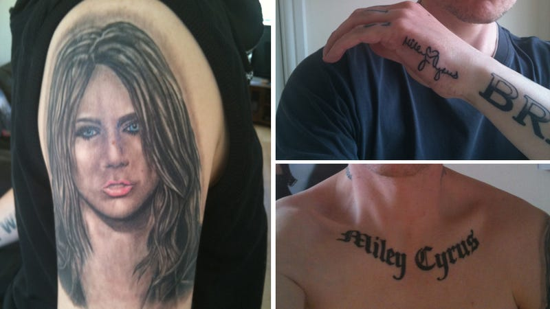 Adult Man Has Miley Cyrus Tattoos and, Yes, That's Tattoos Plural