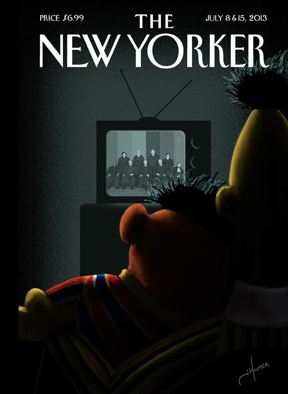 Bert and Ernie Snuggle Up for Gay-Marriage News on New Yorker Cover