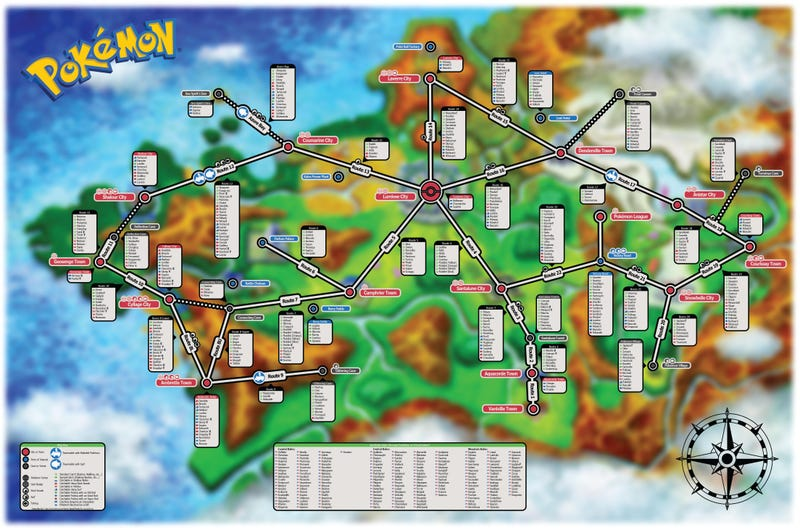 Every Pokémon You Can Catch In X & Y, In One Handy Map
