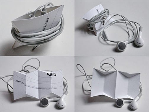 Friday Easy Origami: Business Card Becomes iPod Earbud Winder