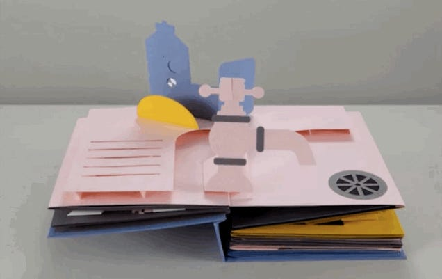 The lifecycle of a water droplet, depicted by a stop-motion popup book