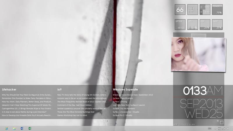 RainMeter Desktop - Rose (for Microsoft Surface RT)