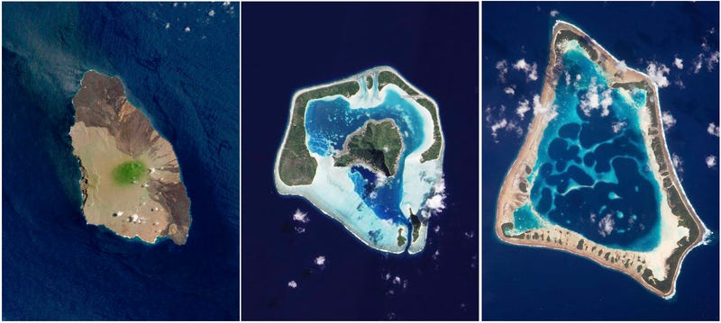 Aerial Photographs Catalogue the Life and Death of Volcanic Islands