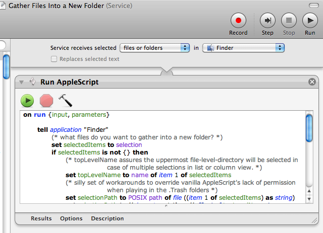 Gather Finder Items Into a New Folder with an Automator Service