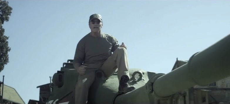 Let's All Watch Arnold Schwarzeneggar Crush Things With His Tank