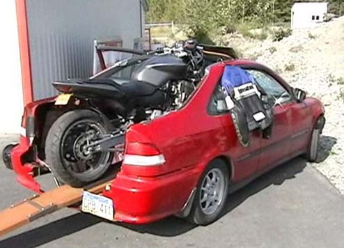 Wrecked Civic + Drag Bike = El Civico!