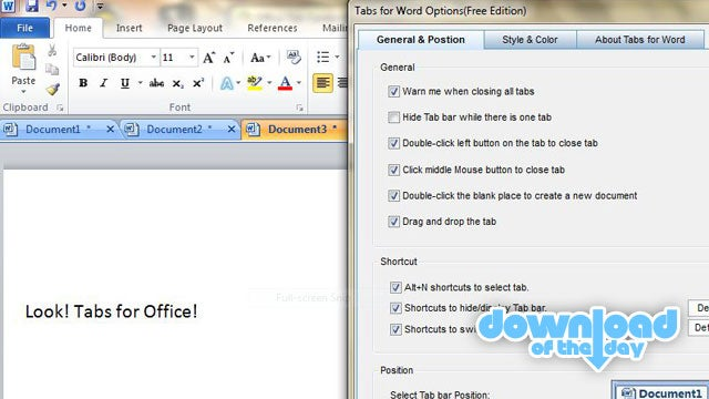 Office Tabs Adds a Tabbed View in Microsoft Office