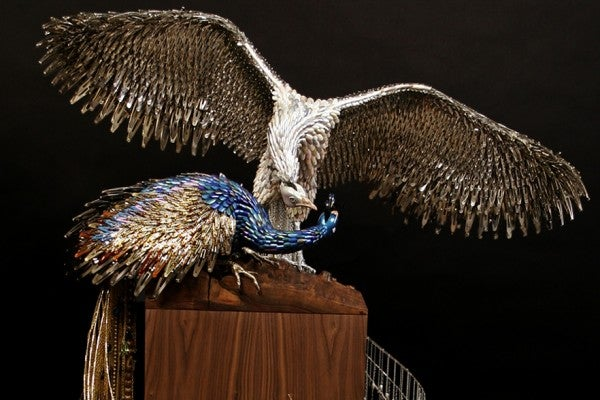 Mind-Blowing Peacocks Made Entirely Out Of Beauty Supplies