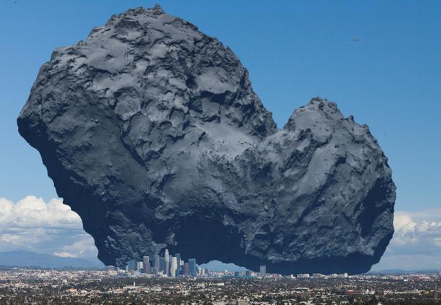 El enorme cometa 67P de la sonda Rosetta, comparado con una ciudad