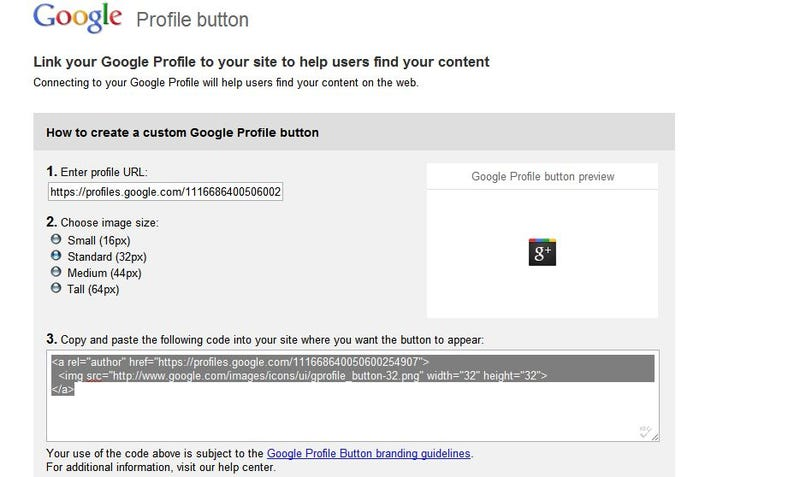 Add a Google Profile Button to Your Site