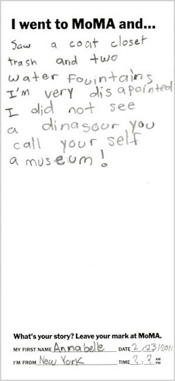 Little Girl Thinks Modern Art Needs More Dinosaur Bones