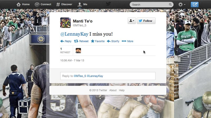 Somebody Took Over Manti Te'o's Old Twitter Account And Is Reviving His Old Tweets—Including Those To Lennay Kekua