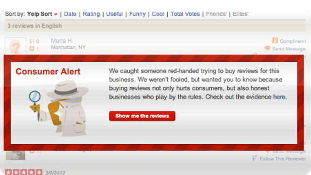 Yelp Will Now Warn You About Paid Reviews