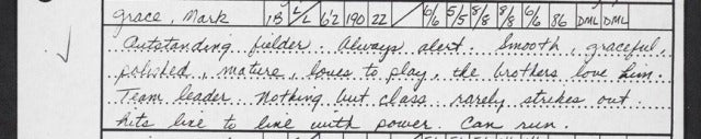 "Old Scouting Report On Mark Grace: ""The Brothers Love Him"""