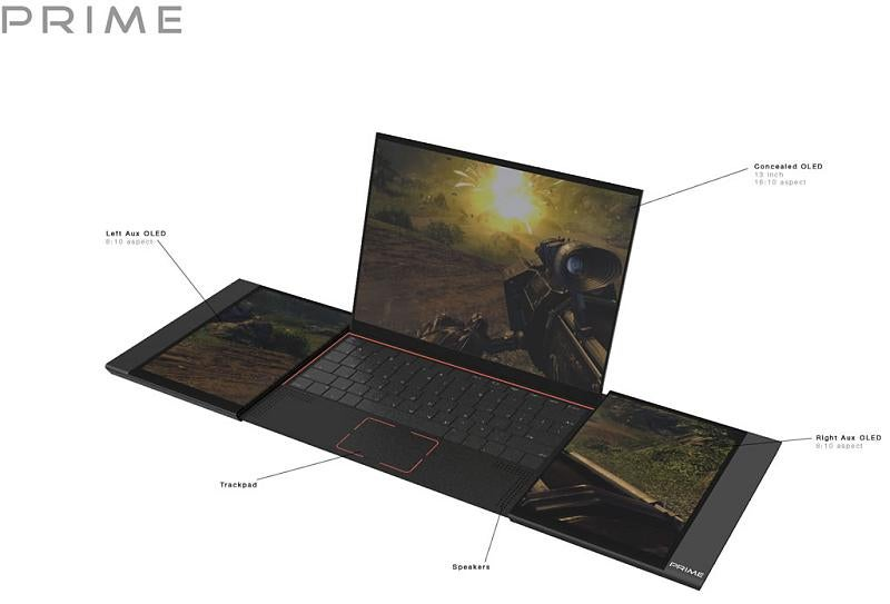 Three-OLED-Screened, 28-Inch Gaming Laptop Sure is a Nice Idea